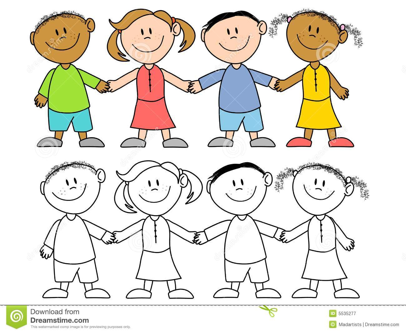 Kids Holding Hands Group Stock Illustration Illustration