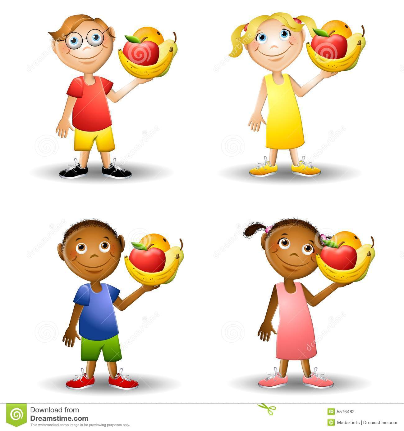 ... of kids holding healthy fresh foods - apple, bananas, pear and orange