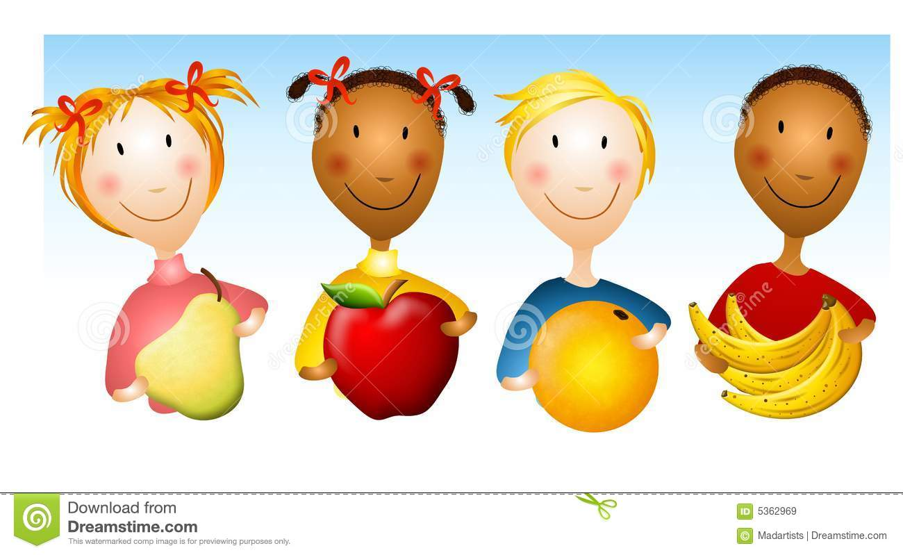 Kids Holding Healthy Foods Royalty Free Stock Images