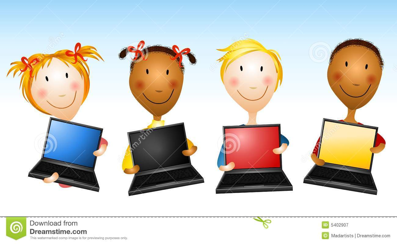 Kids Holding Laptop Computers