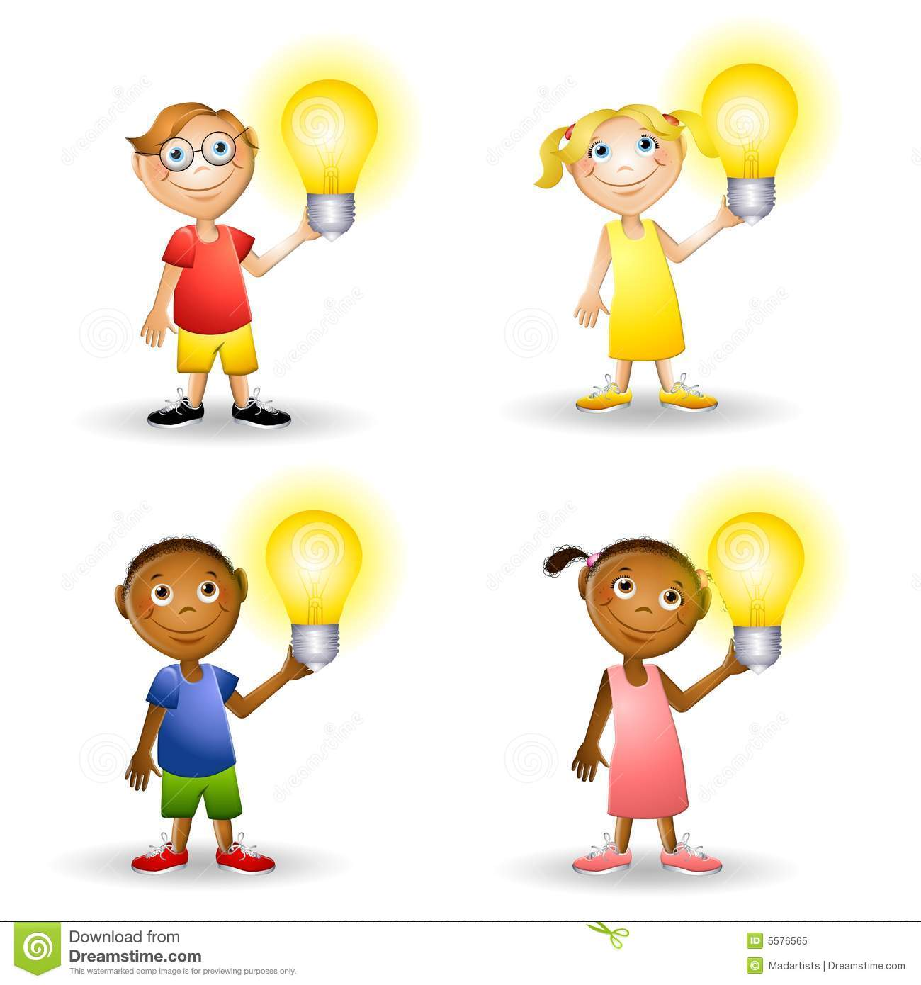 ... kids holding lightbulbs to represent having an idea or energy issues
