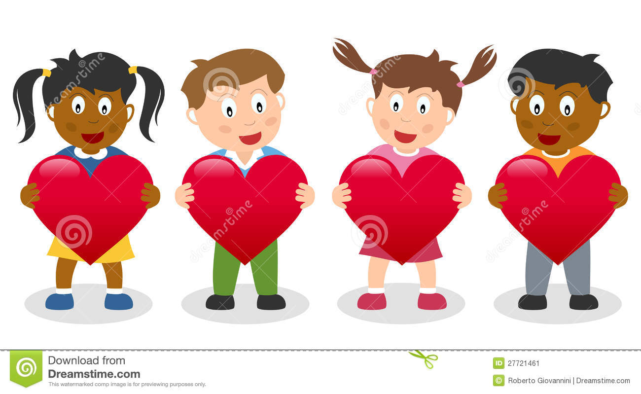 Kids Holding A Red Heart Stock Vector Illustration Of Culture