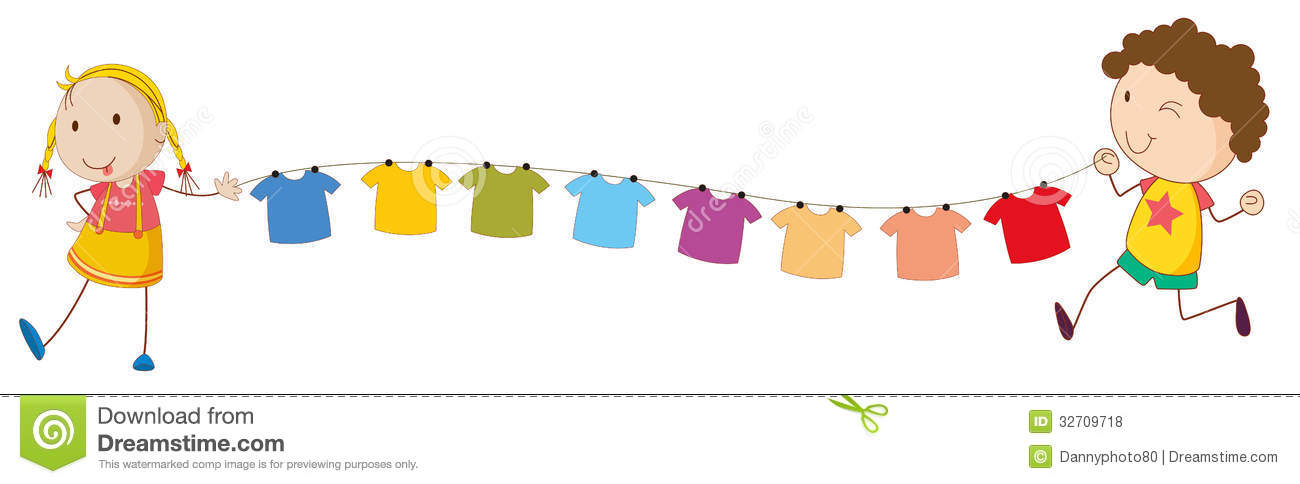 Hanging Pictures On Wire a bike with kids and the hanging clothes stock image - image: 33315761