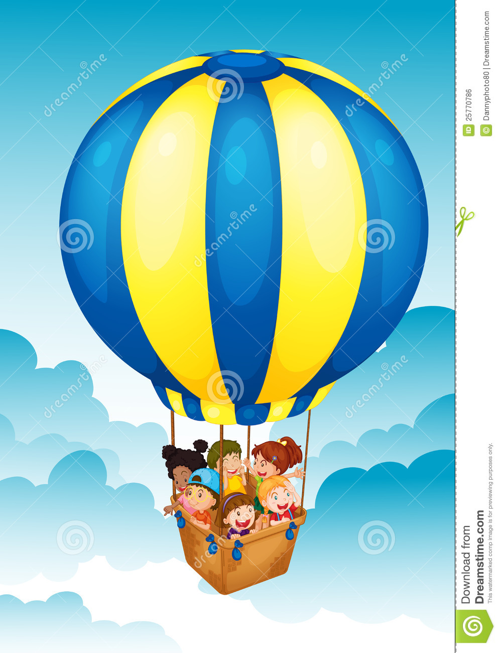 Kids In Hot Air Balloon Royalty Free Stock Image - Image ...
