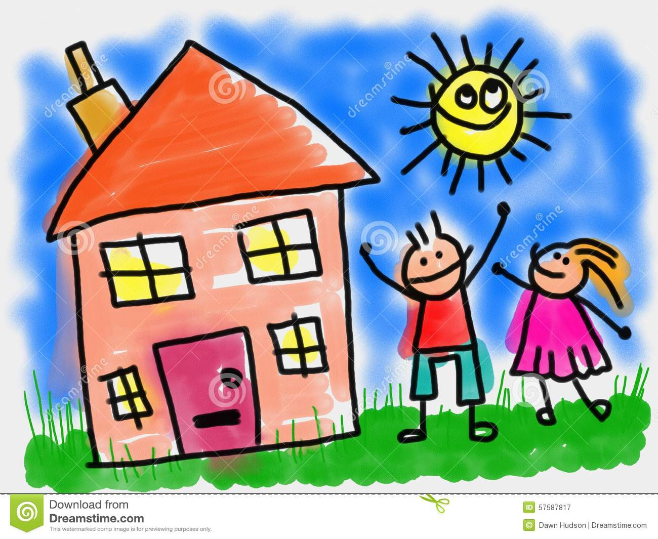 Kids and House stock illustration. Image of house, summer ...