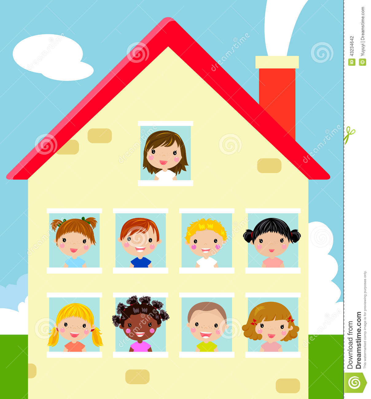 Kids and house stock vector. Image of park, home, building ...
