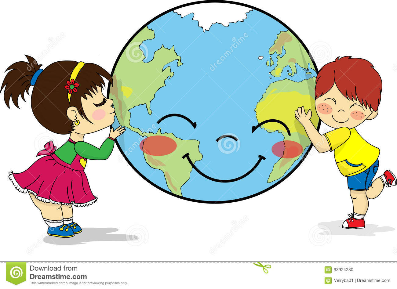 Kids hugging and kissing smiling planet earth stock vector illustration of isolated - Mother earth clipart ...