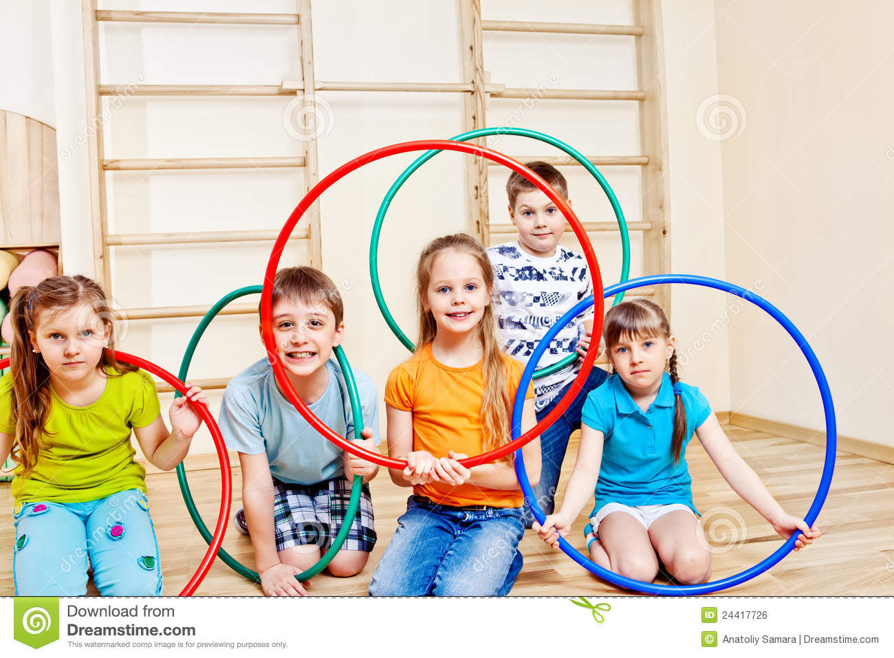 kids with hula hoops stock photo image of hoops crowd. Black Bedroom Furniture Sets. Home Design Ideas