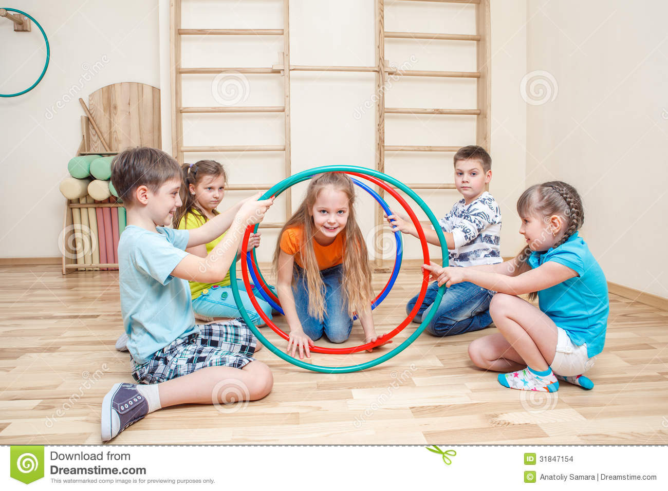 Kids with hula hoops
