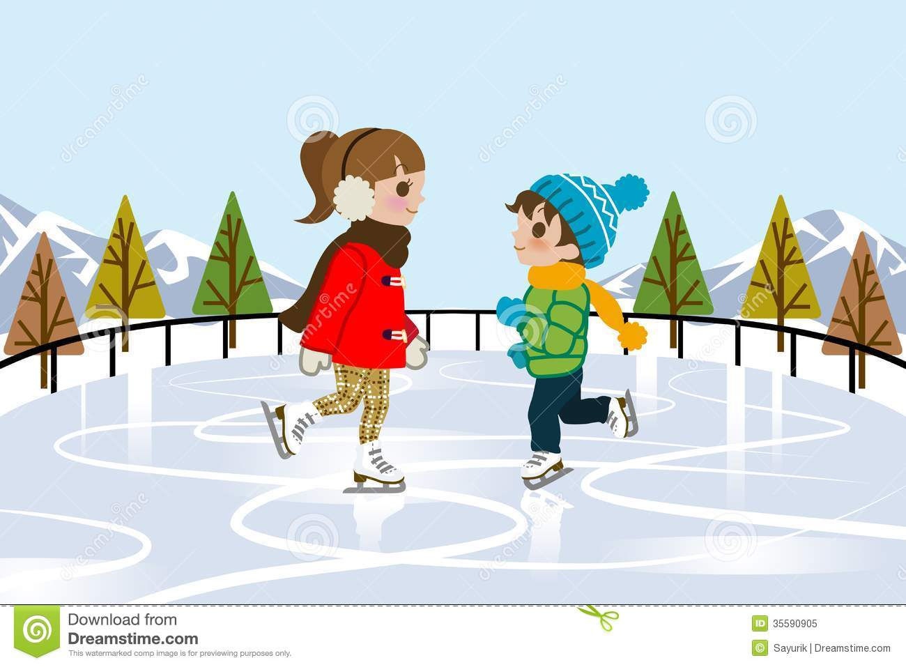 Kids Ice Skating In Nature Royalty Free Stock Photo - Image: 35590905