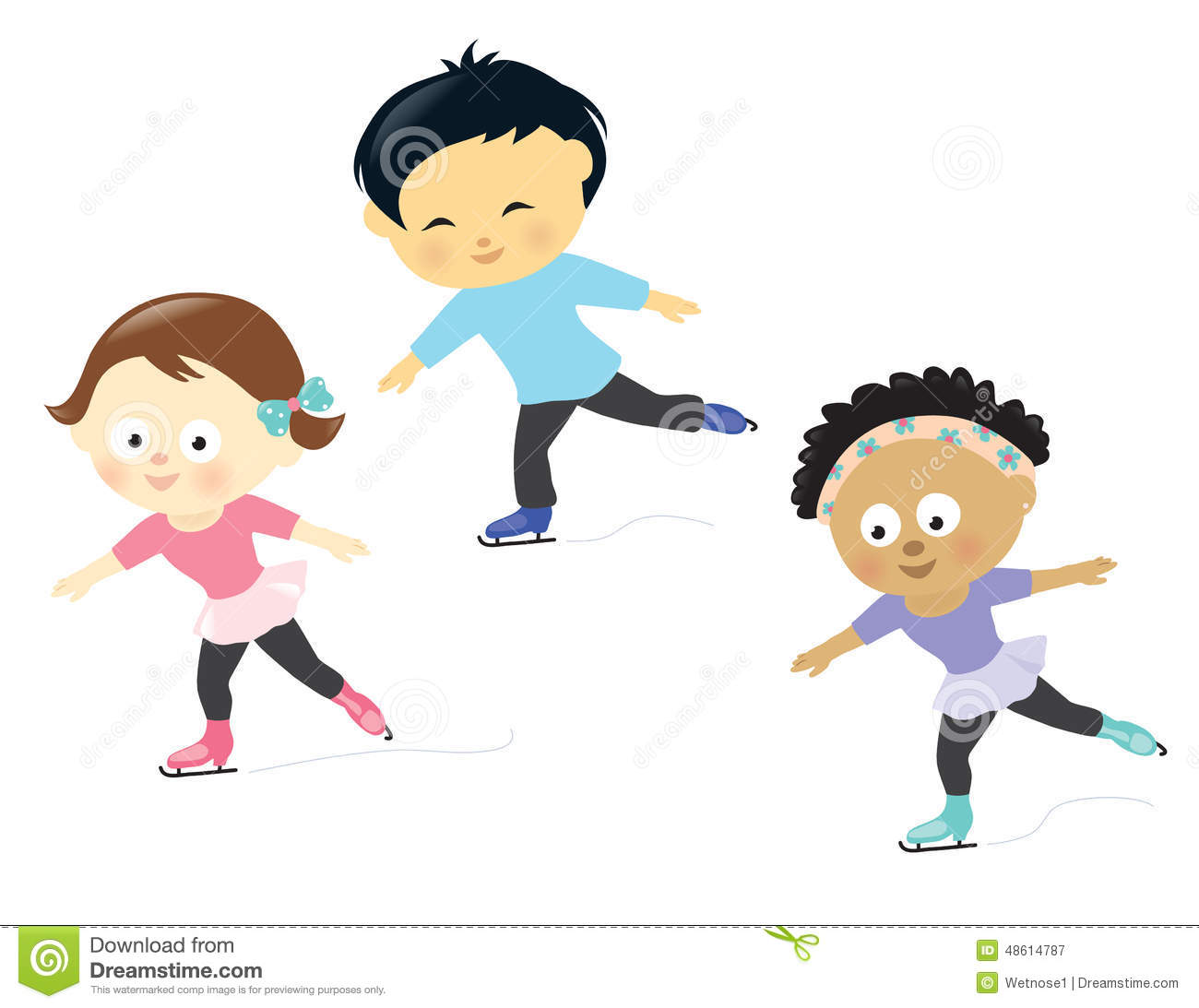 Kids Ice Skating Stock Vector Image 48614787