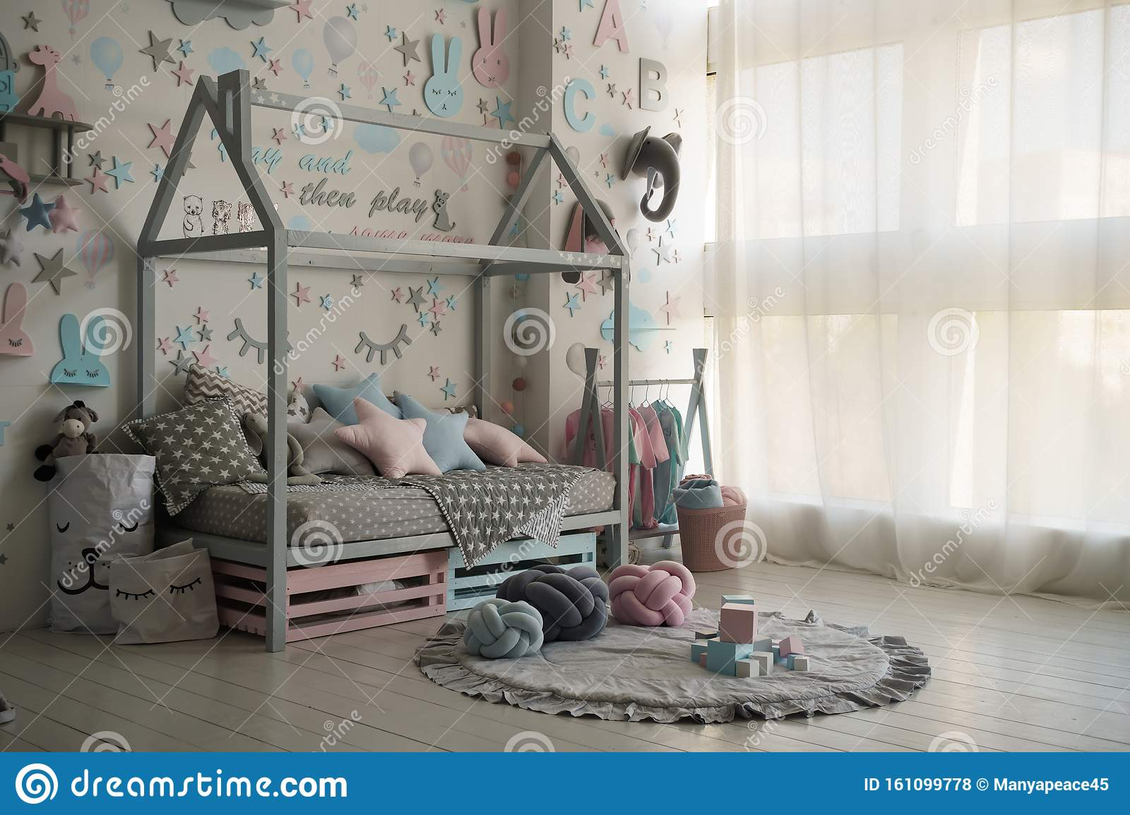 Kids Ideas Wooden Toy Box Push Walker Martin Heidegger Bedroom Ideas Color Palette Vintage Stock Photo Image Of Interior Calm 161099778