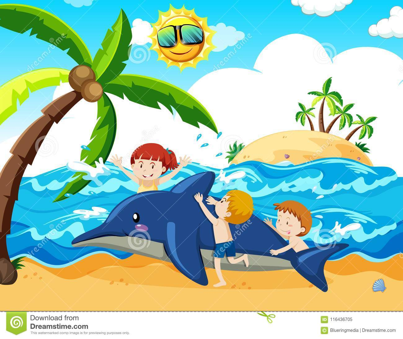1c3b1556f44974 Kids And Inflatable Dolphin At The Beach Stock Vector - Illustration ...
