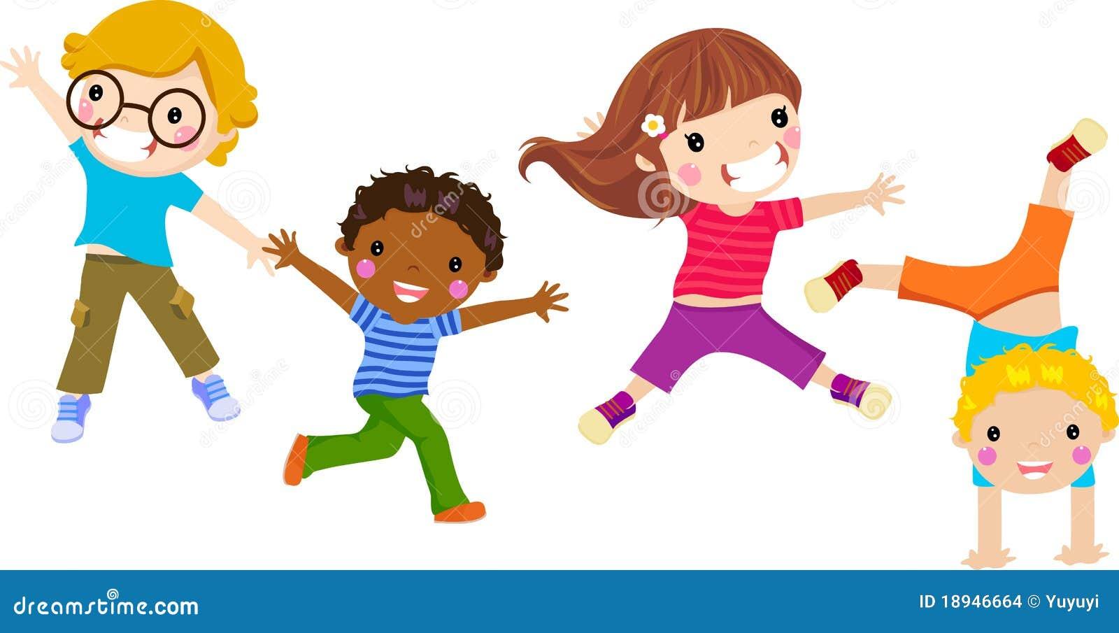 Children jumping clipart