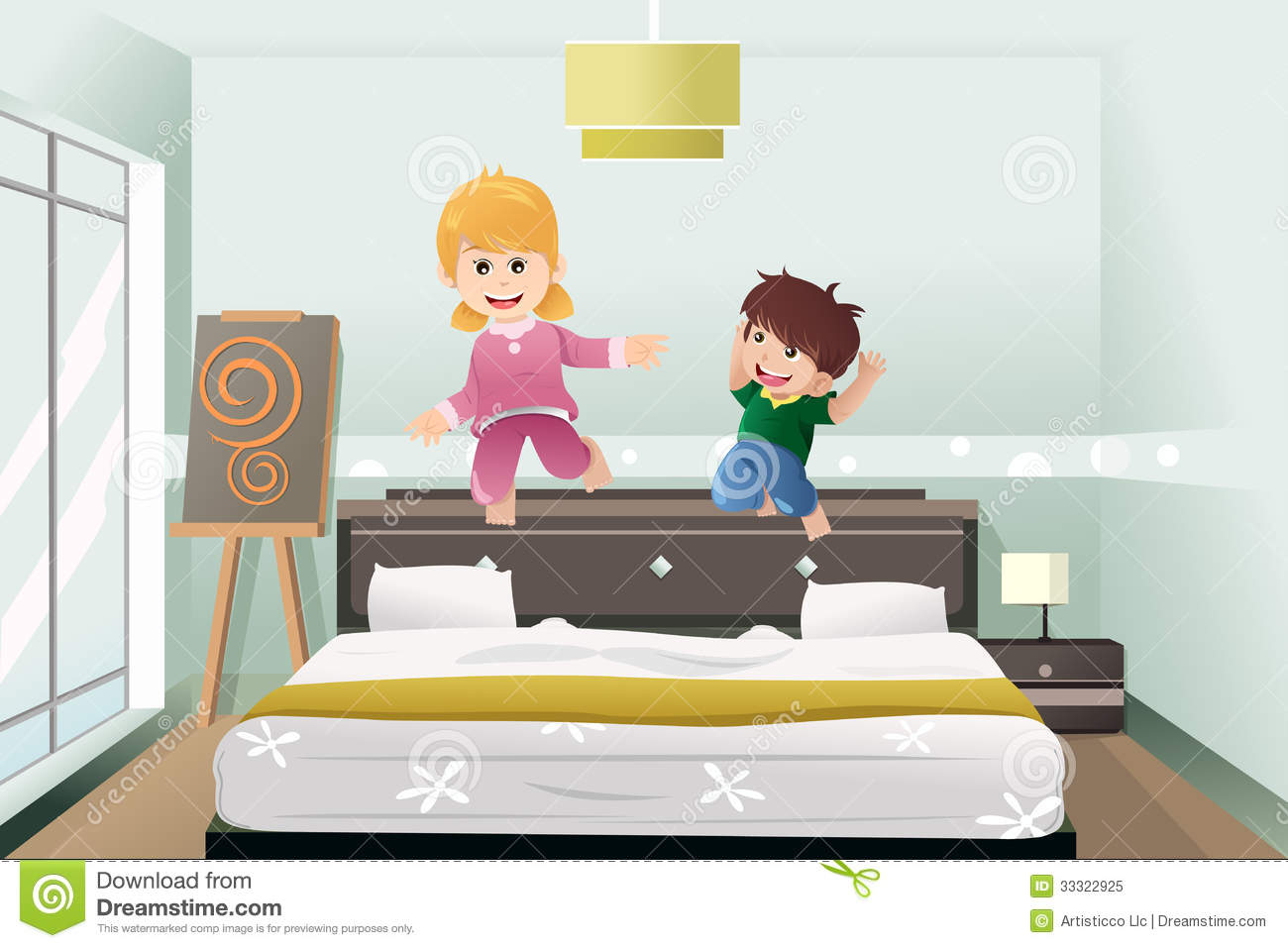 Kids Jumping On The Bed Royalty Free Stock Photo Image