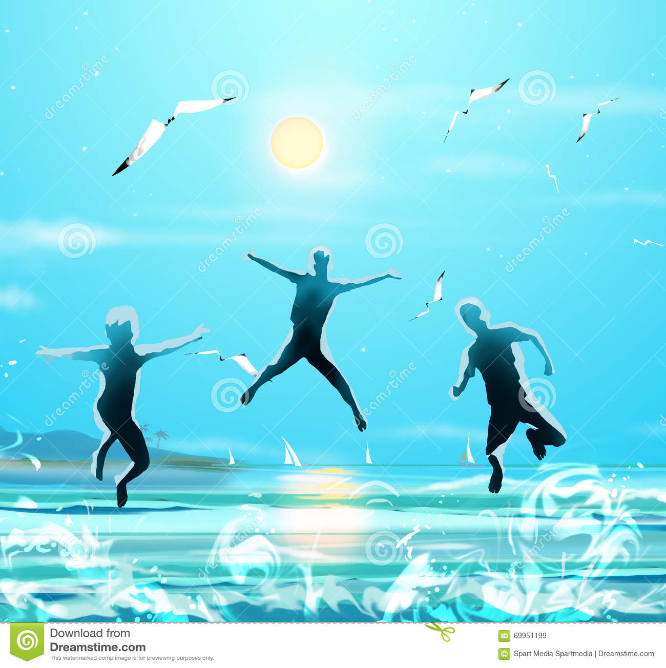 Download Happy Kids Jumping Sea Beach Party Summer Stock Illustration - Illustration of children, healthy: 69951199