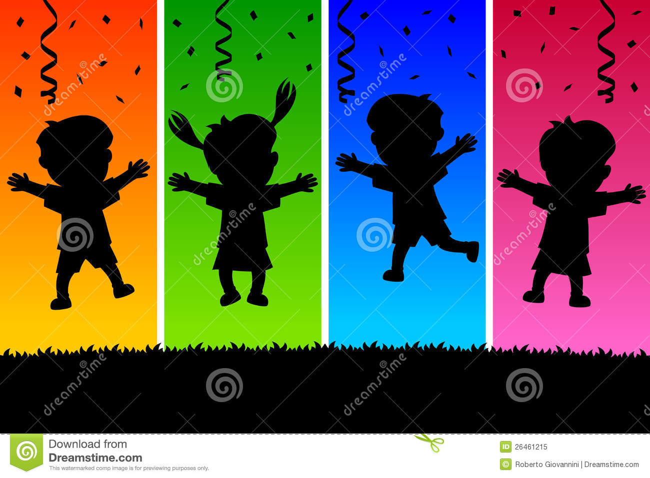Kids Jumping Silhouettes Colorful Of