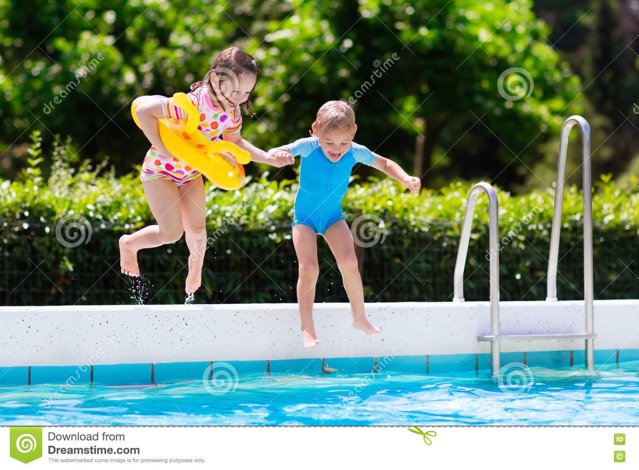 Kids Jumping Into Swimming Pool Stock Photo Image Of Child Beach 74823806