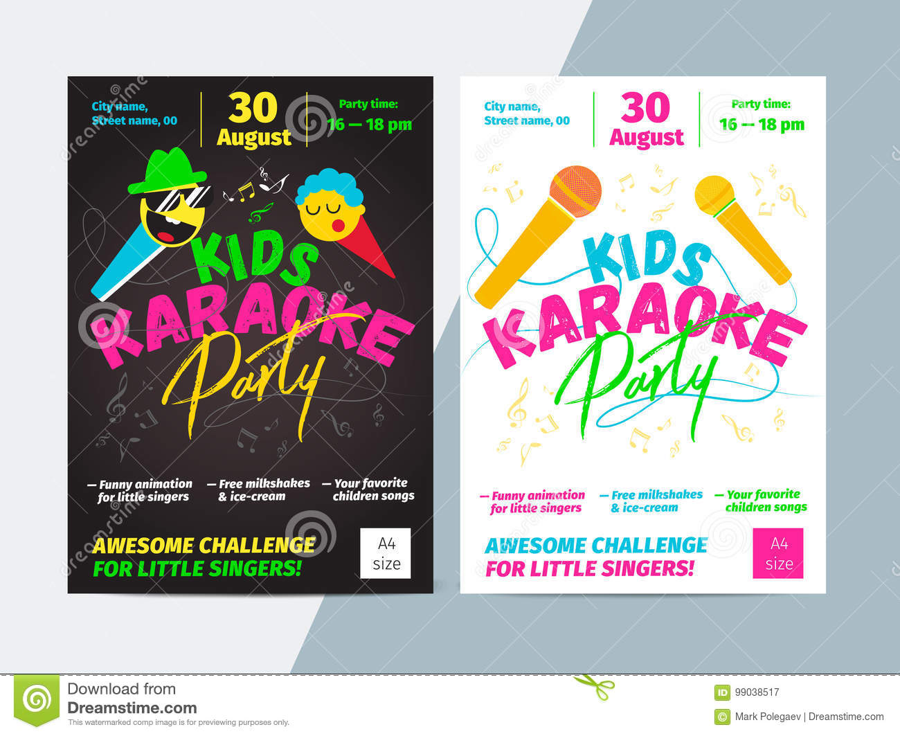 Kids karaoke party flyer with microphone and bright typography.