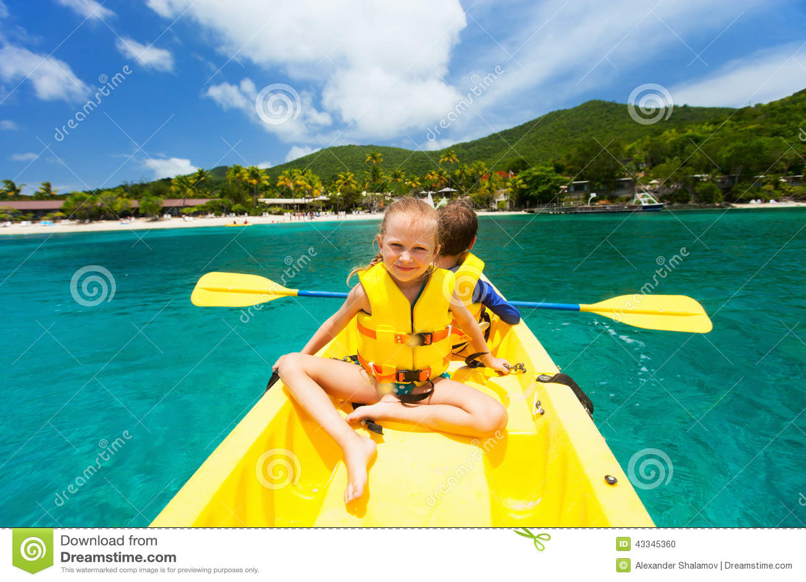 Kids in kayak stock photo. Image of holiday, people, canoe ...