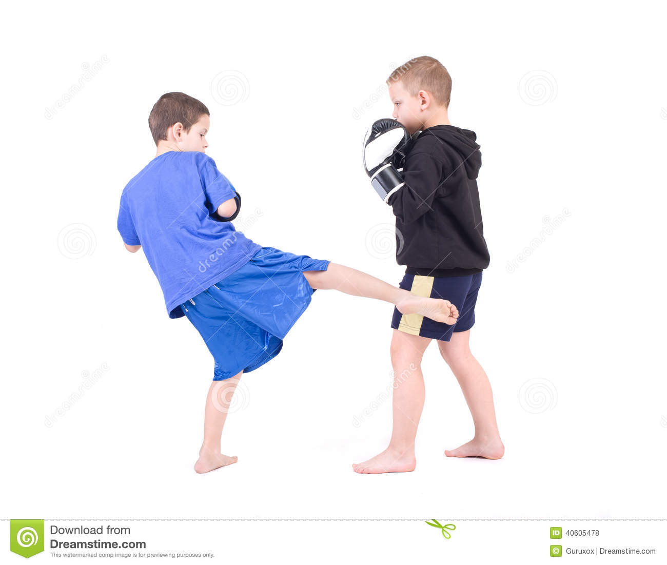 Kids Kickboxing Fight Stock Photo - Image: 40605478