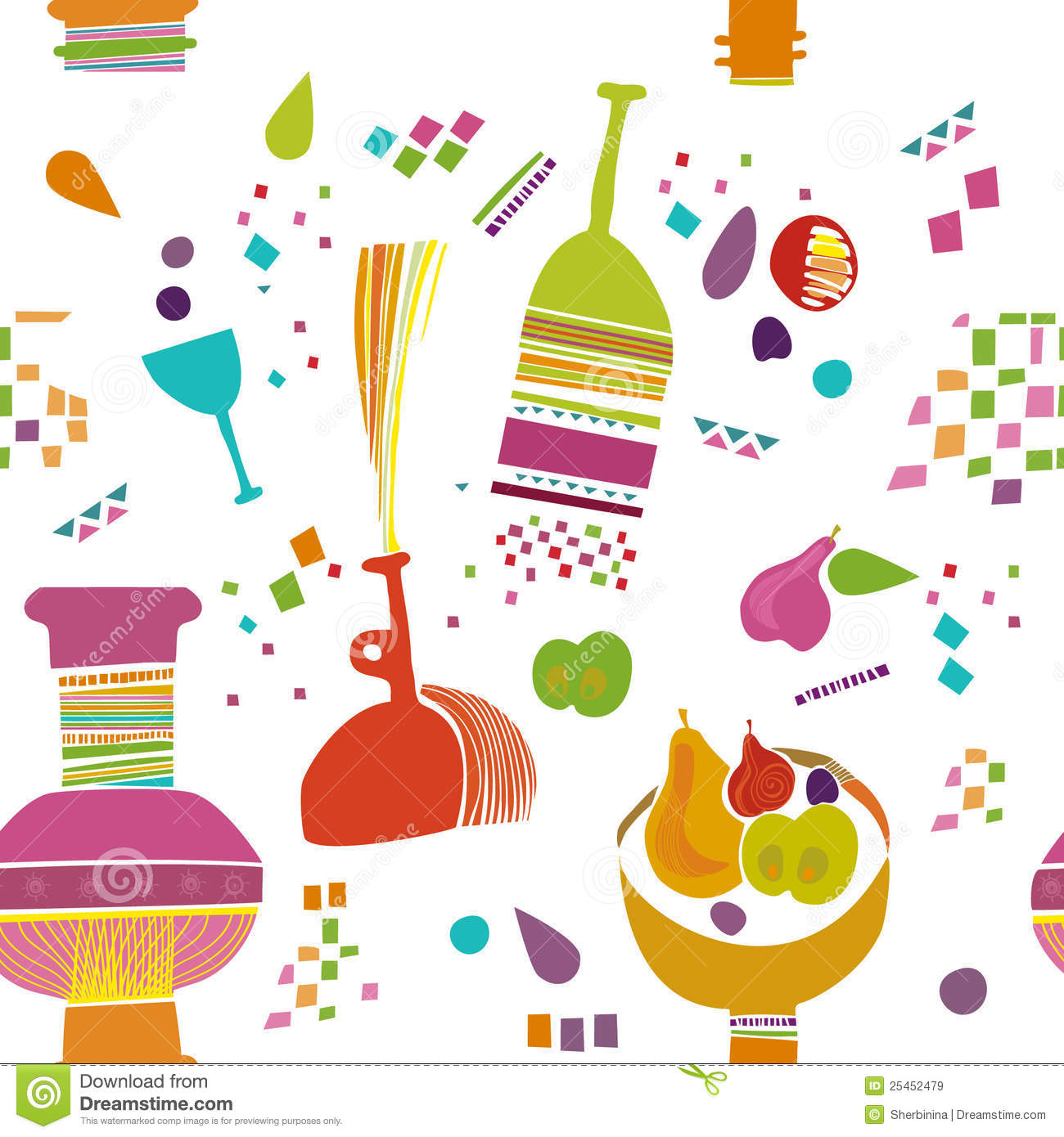 Kids Kitchen Pattern Wallpaper Stock Illustration Illustration Of