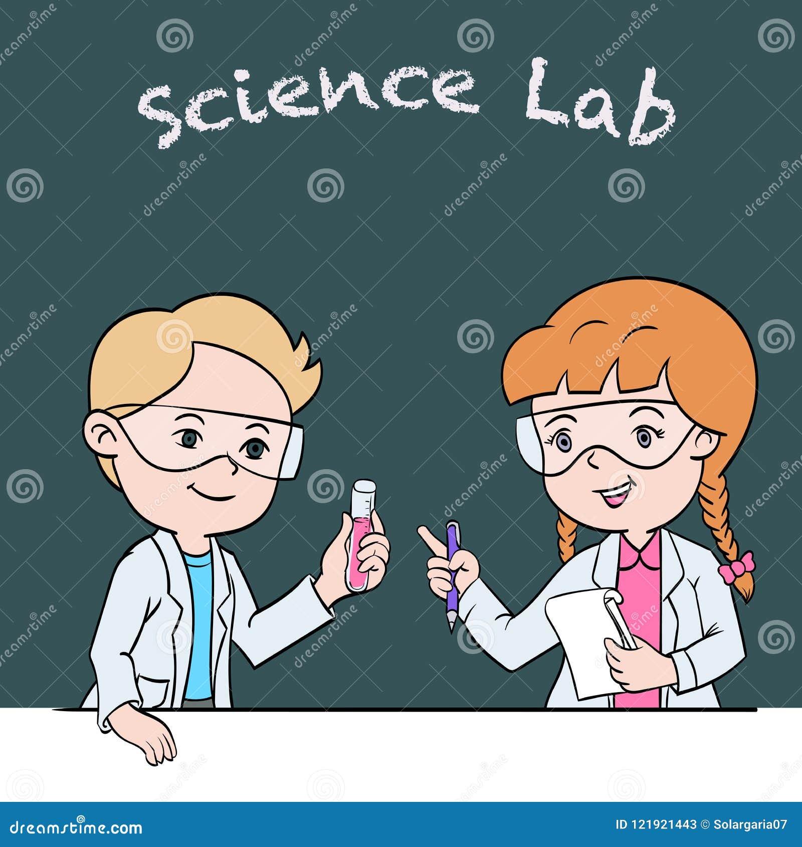 Kids in science lab class - Cartoon Vector Illustration