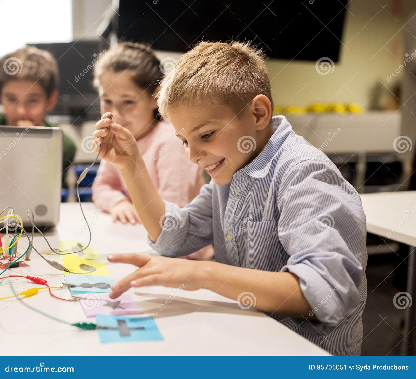 kids laptop  invention kit  robotics school stock image image