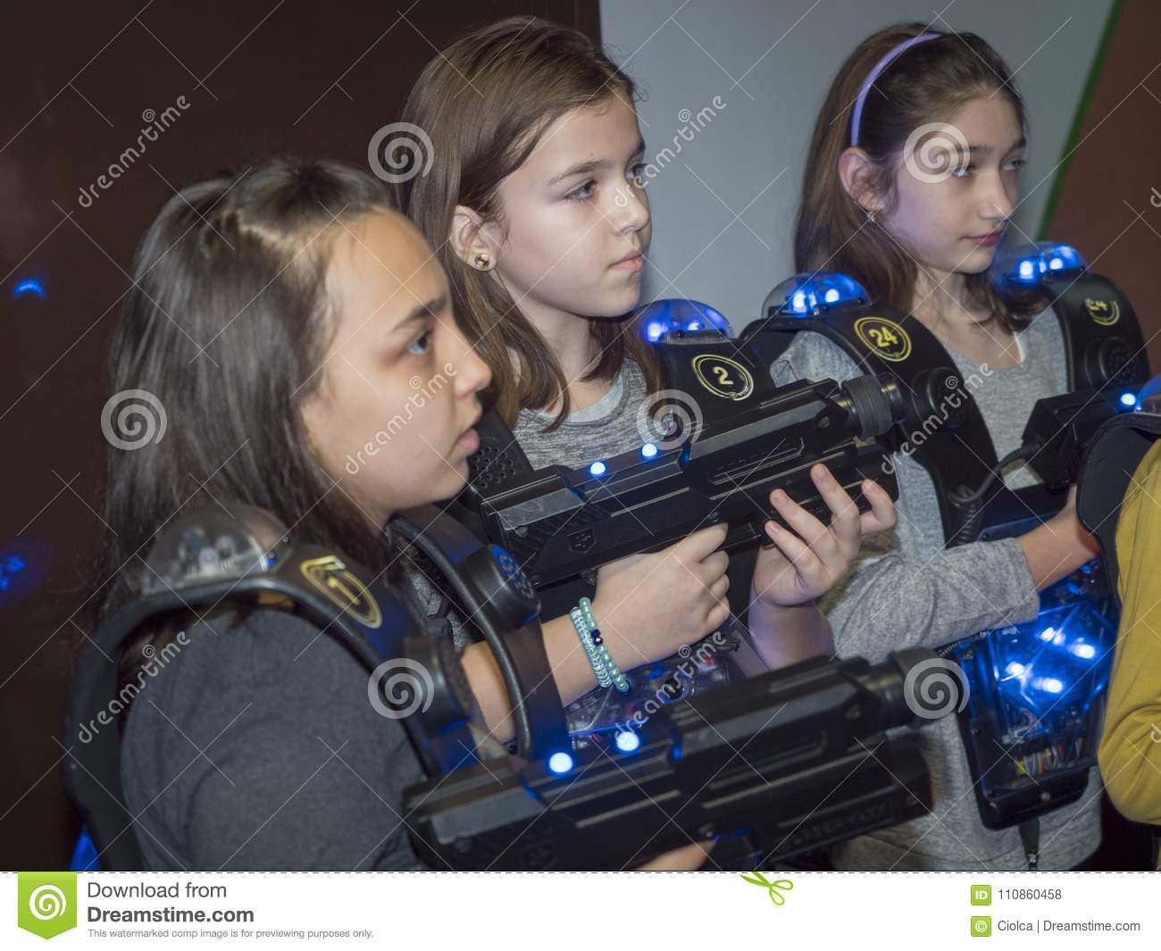 Kids at a laser tag arena editorial stock photo  Image of
