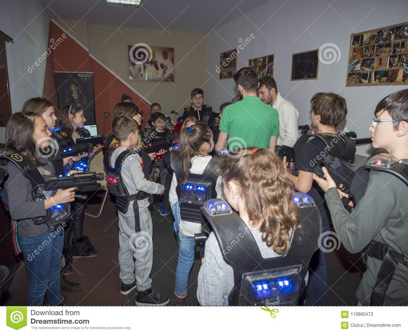 Kids at a laser tag arena editorial stock photo  Image of cool