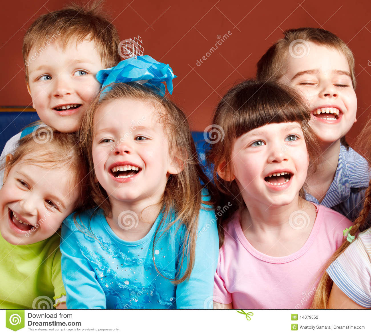 Five Happy Laughing Kids Winter Royalty Free Stock Image  Image