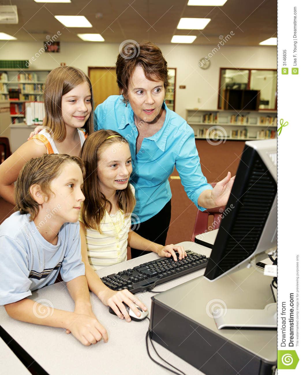 Kids Learn Computer Stock Image. Image Of Elementary