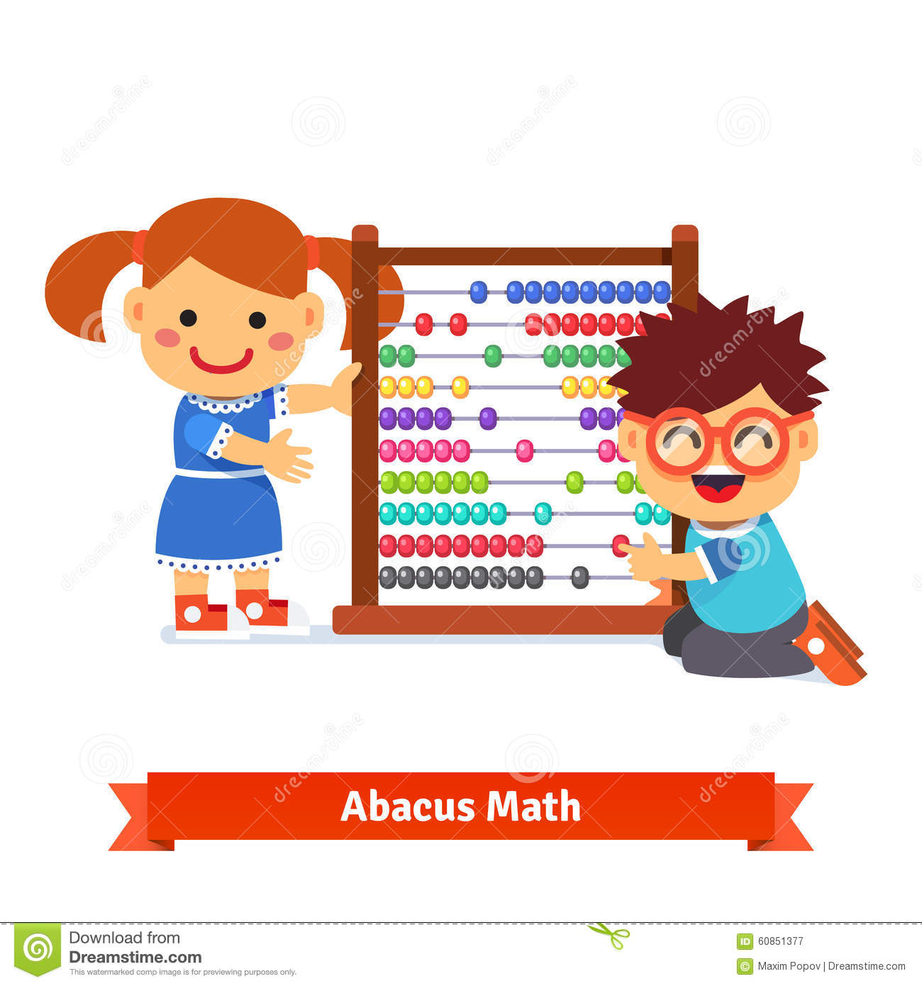 Kids are learning math with big kindergarten wooden colorful abacus ...