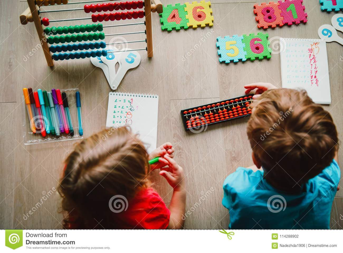 Kids learning numbers, mental arithmetic, abacus