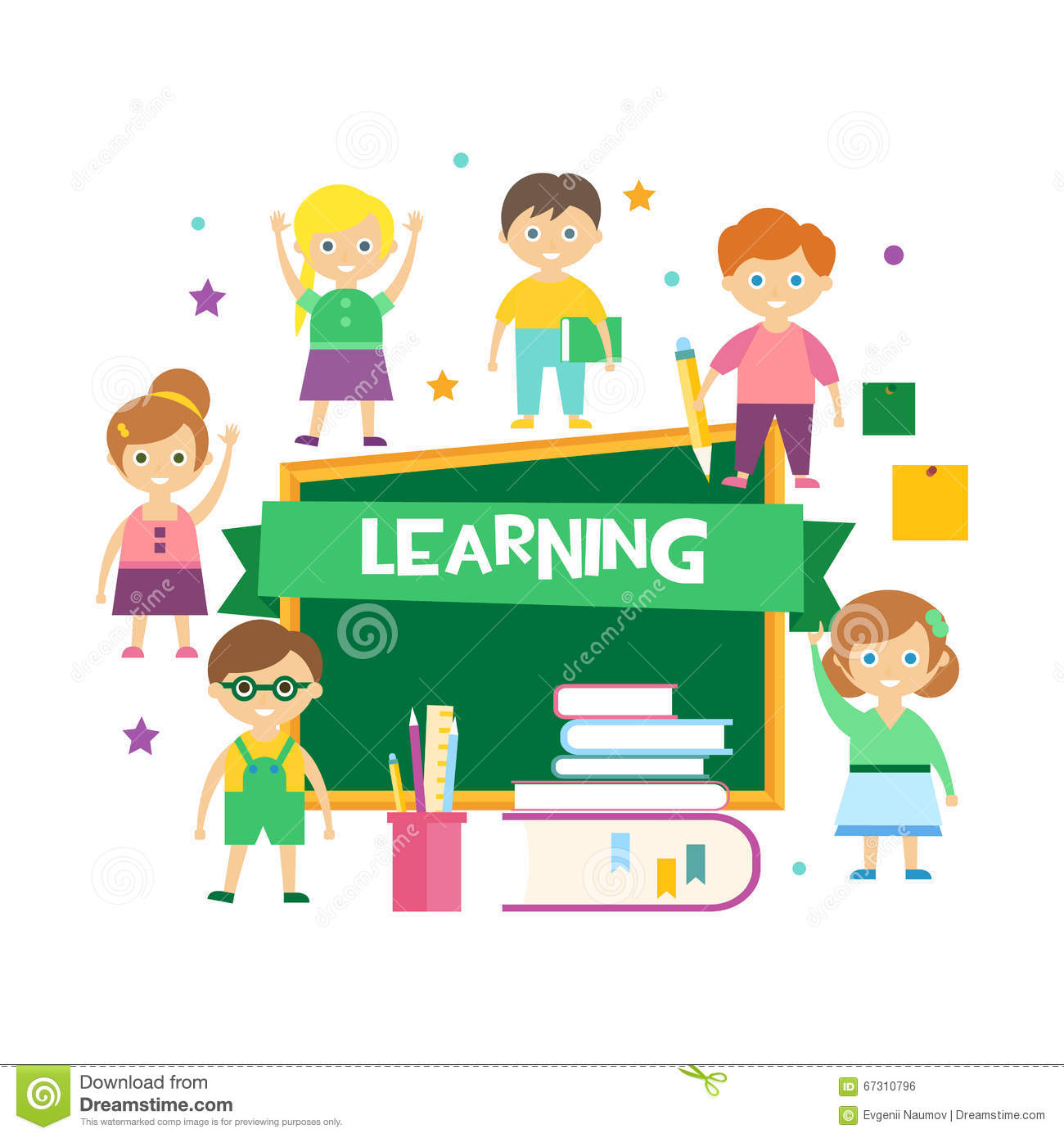 Kids Learning. Vector Illustration Stock Vector - Image ...