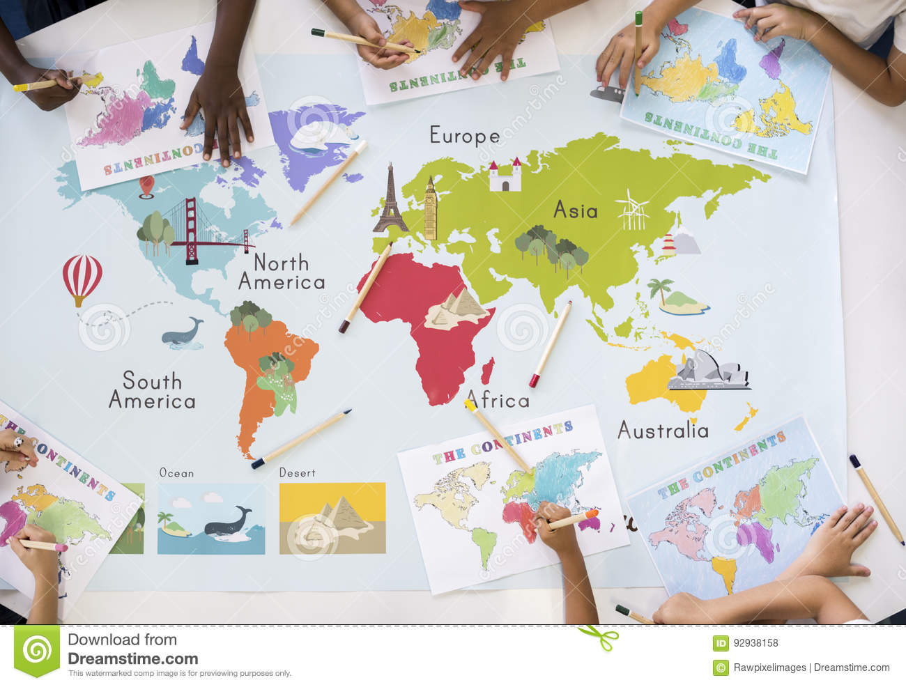 Kids learning world map with continents countries ocean geograph royalty free stock photo download kids learning world map with continents countries ocean gumiabroncs