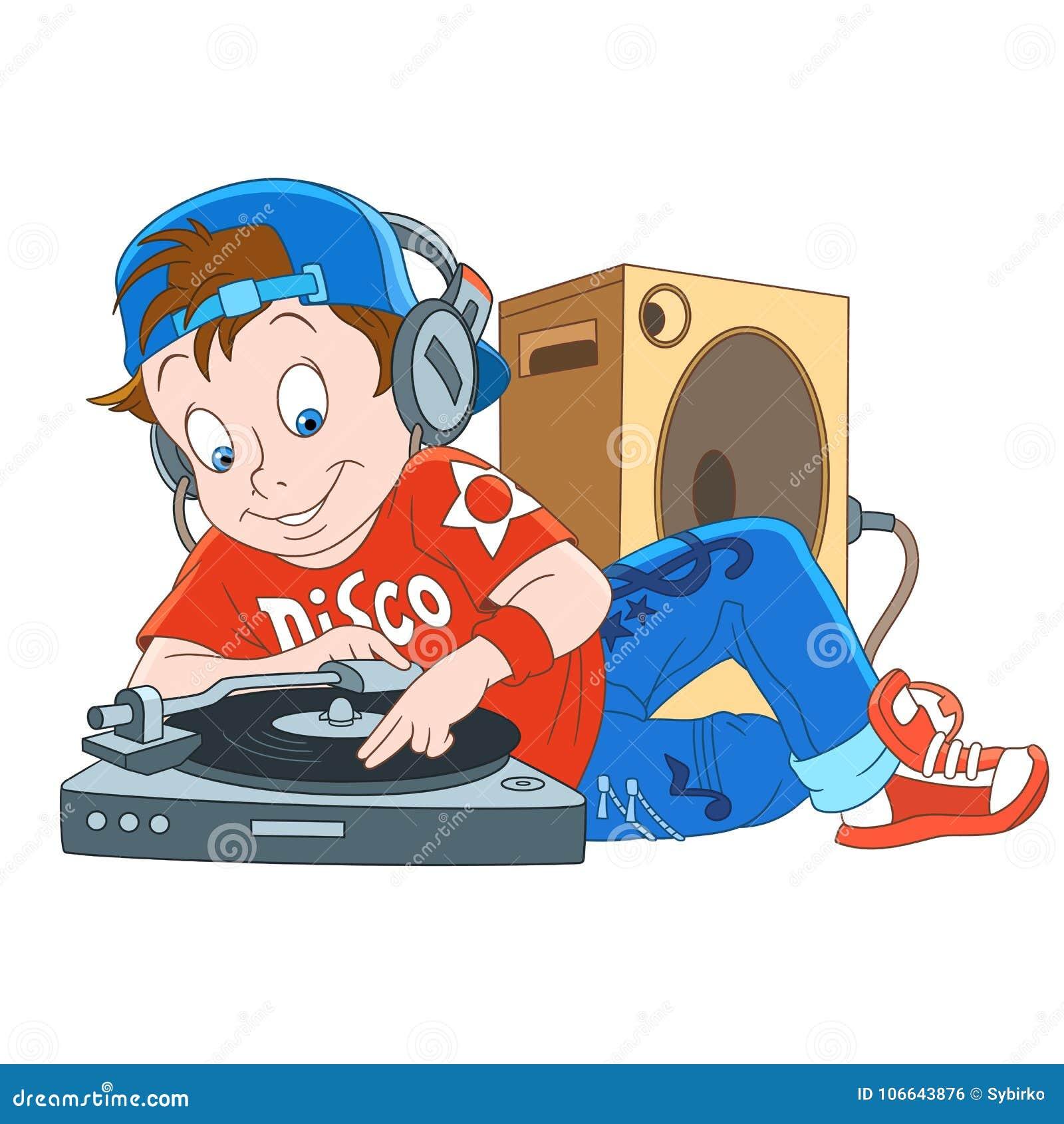 Cartoon Music Disco Dj, Disk-jockey Stock Vector - Illustration of