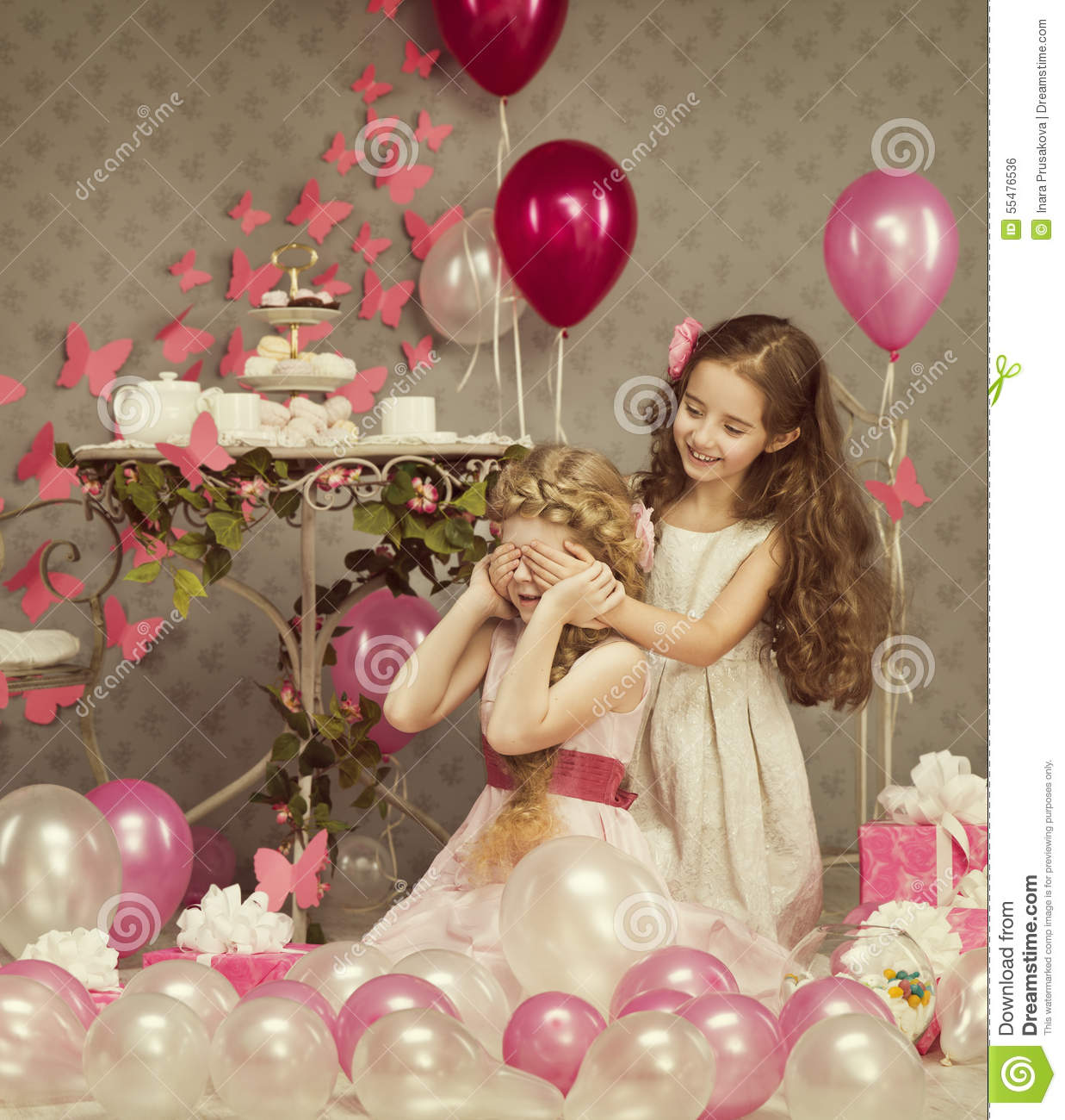 Kids Little Girls Covering Eyes, Children Birthday, Presents Balloons
