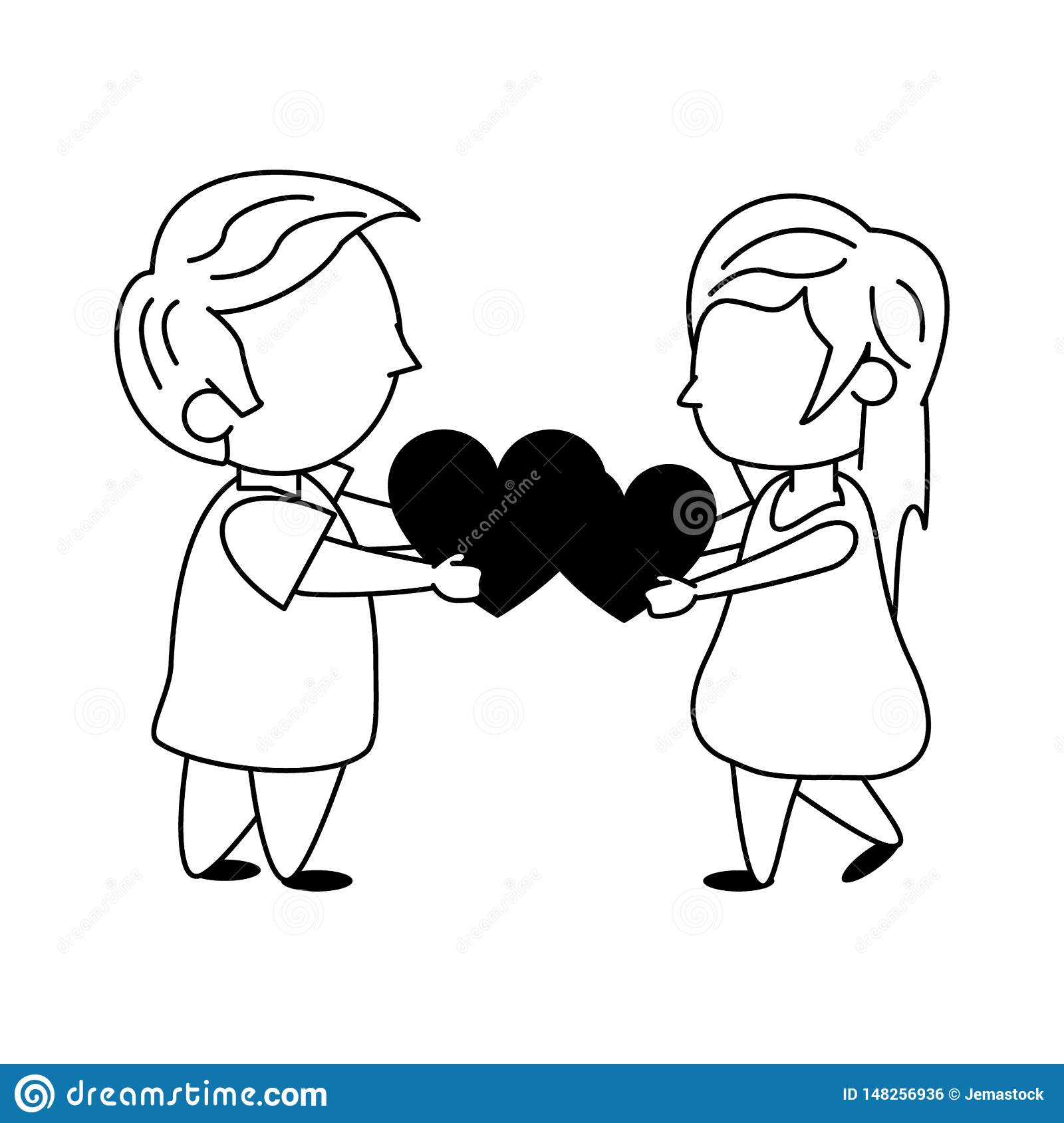 Kids In Love Cartoon In Black And White Stock Vector