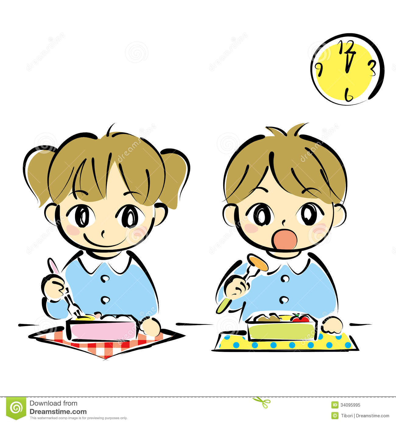 Kids At Lunchtime Stock Vector Illustration Of Kids
