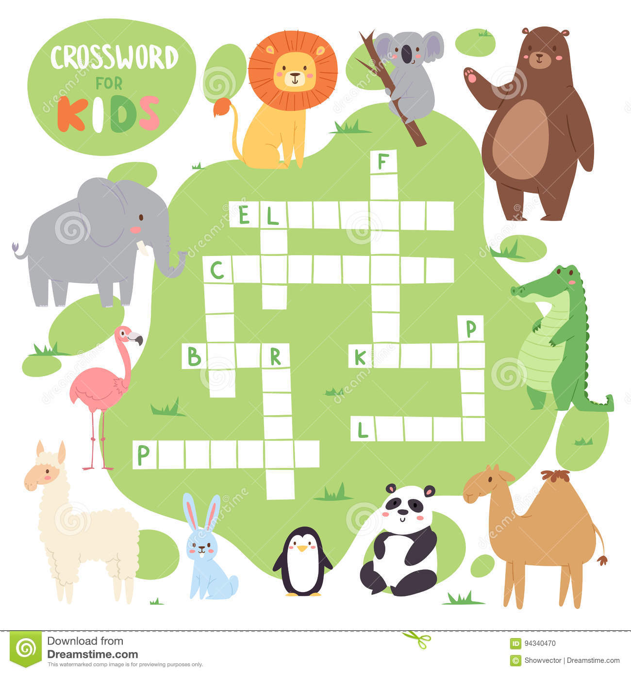 kids magazine book puzzle game of forest animals logical crossword