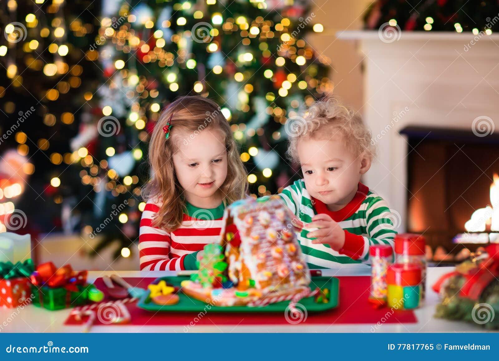 Kids Making Christmas Ginger Bread House Stock Image Image Of Homemade Ginger 77817765