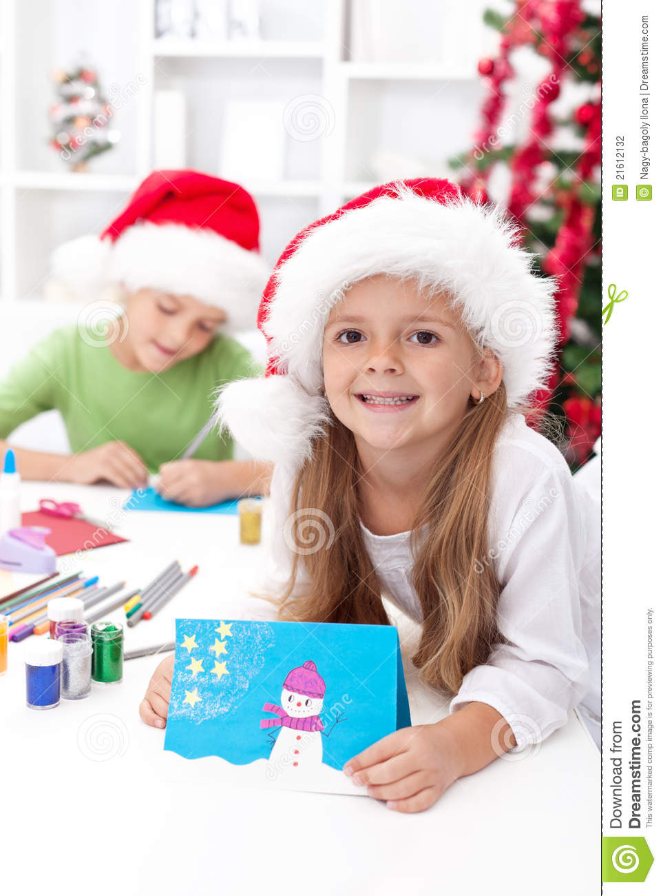 Kids Making Christmas Greeting Cards Stock Photo Image Of Brother