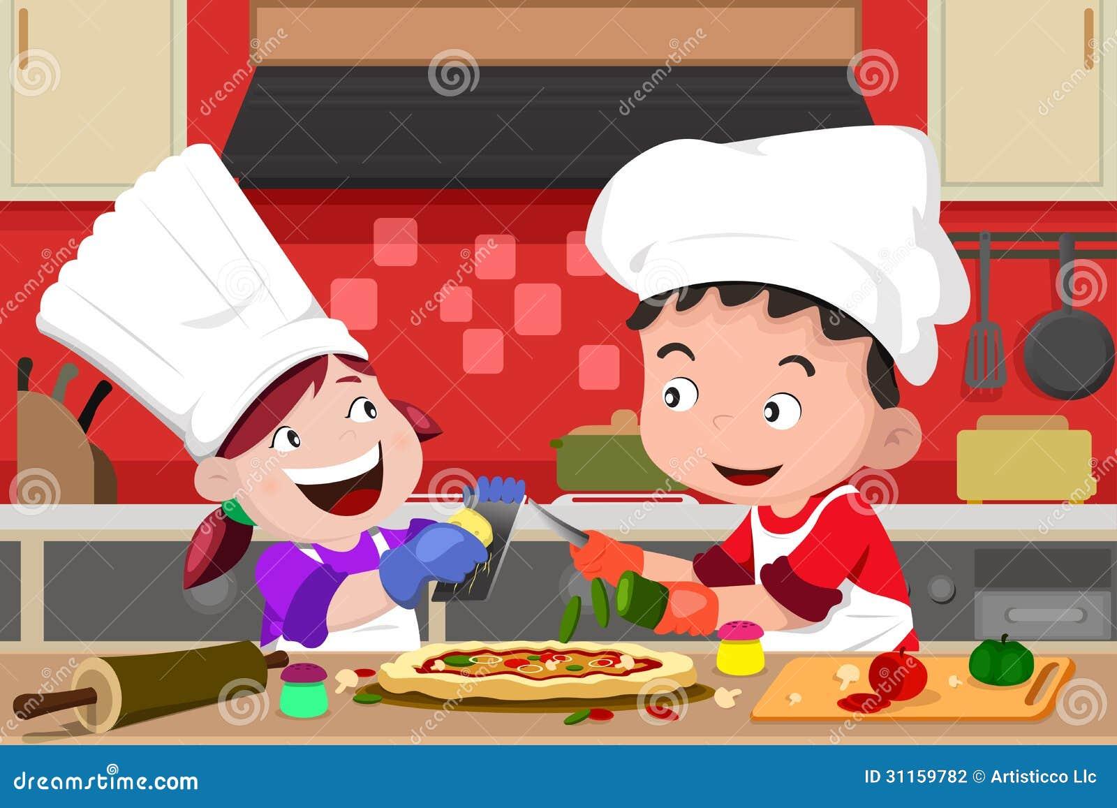 Kitchen Kids Making Pizza With Children