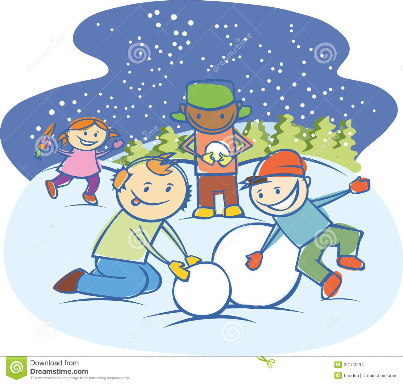 Kids Making A Snow Man Isolated Stock Vector ...