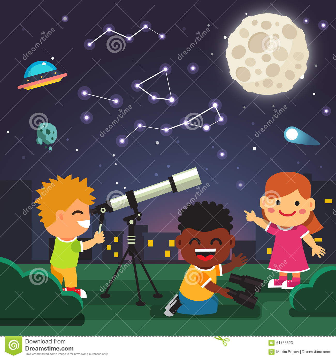 Kids Making Telescope Astronomical Observations Stock ...