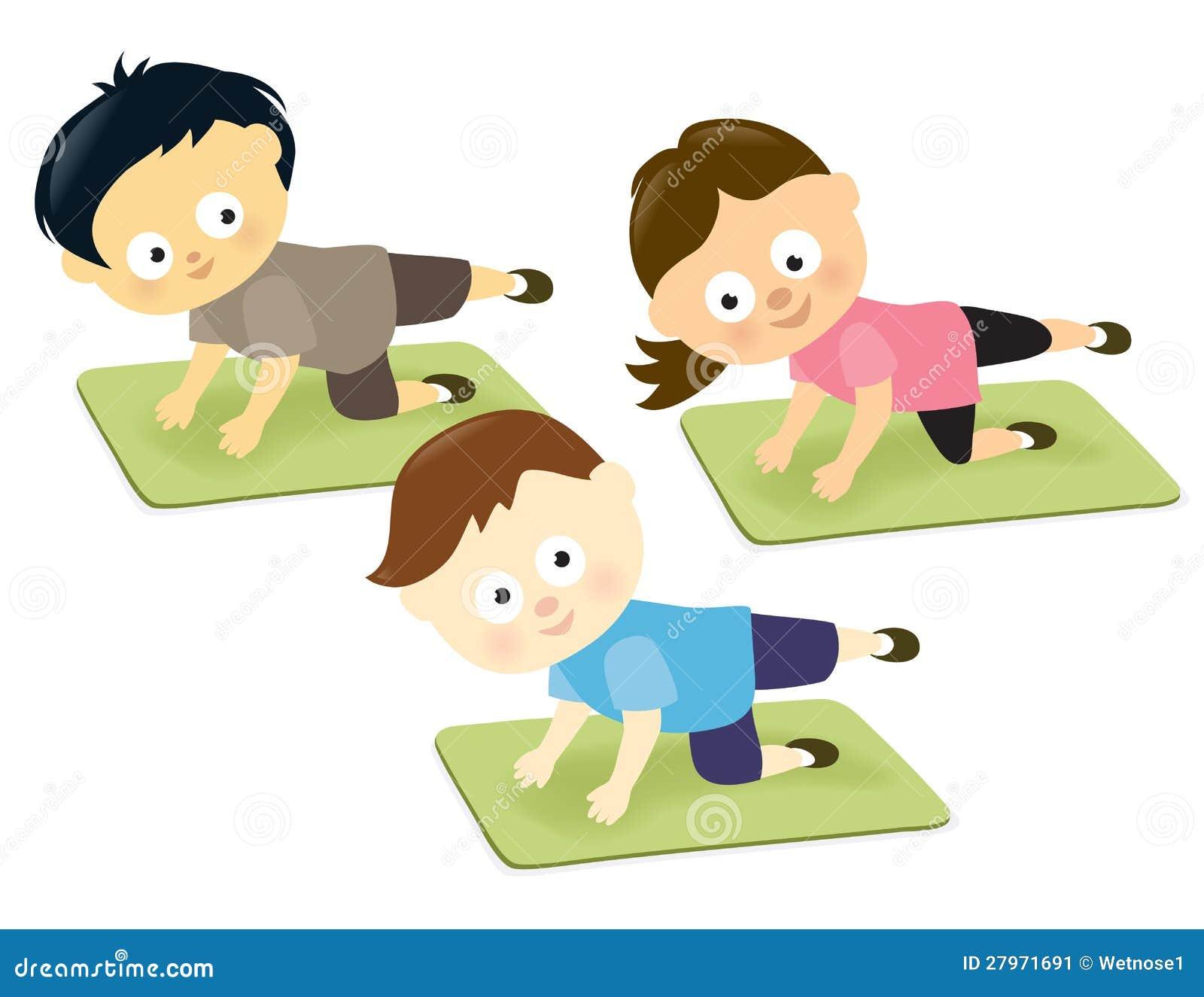 Kids On Mats Stock Vector. Illustration Of Girl, Children