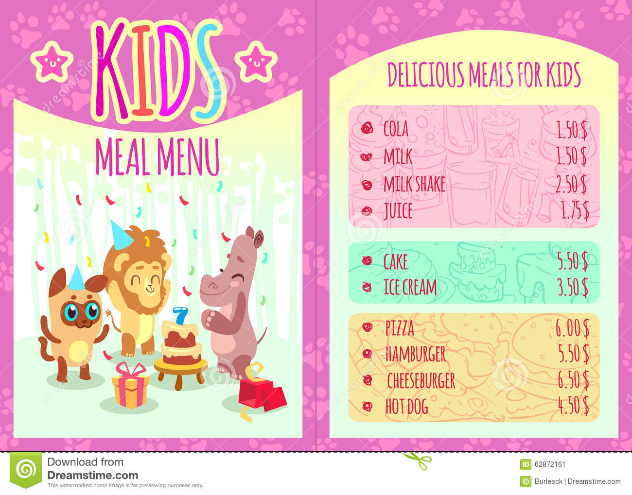 Kids Meal Menu With Animal Characters Food And Lion Hippo Event Birthday Cola Cheeseburger Pizza Hamburger