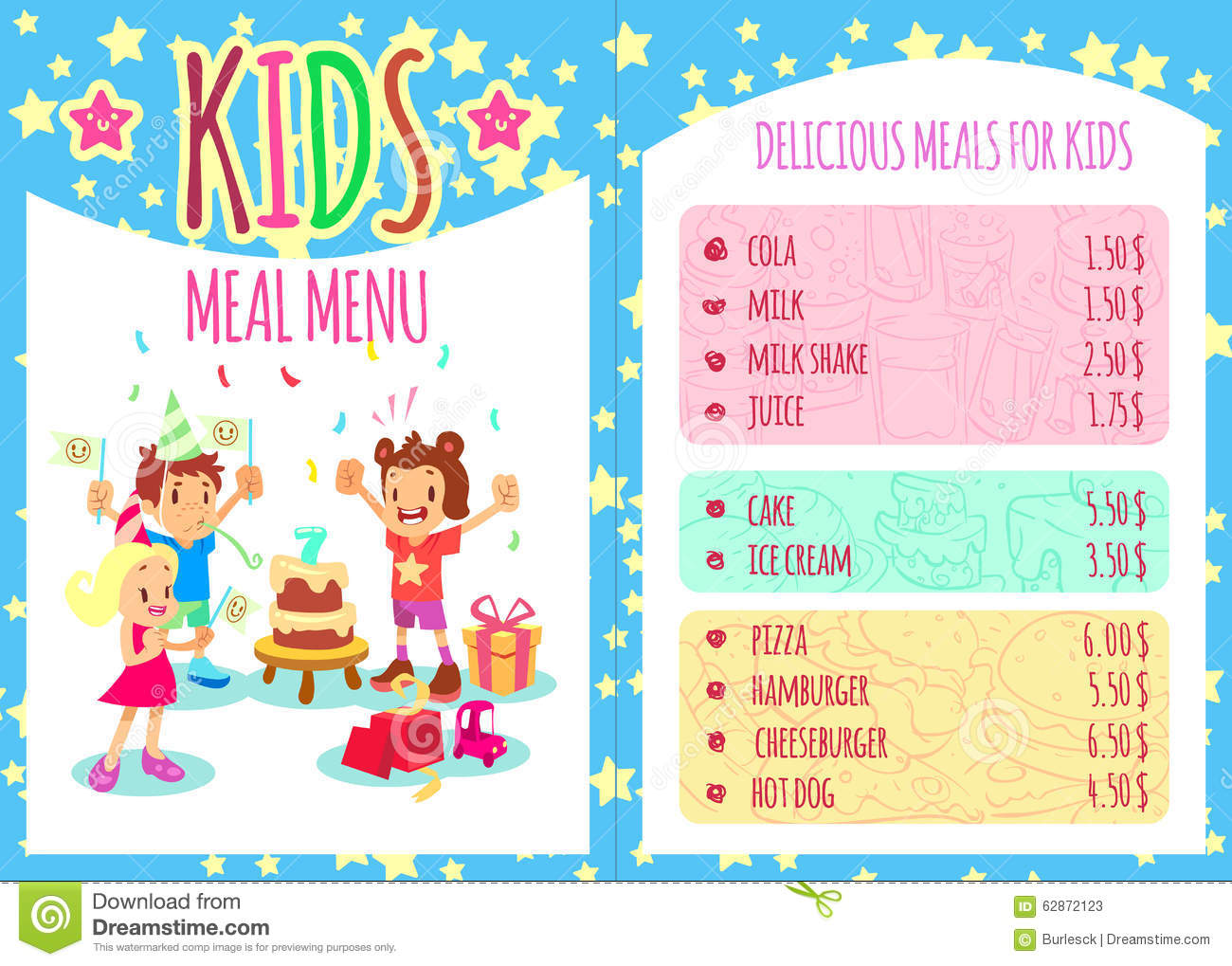 birthday menu template