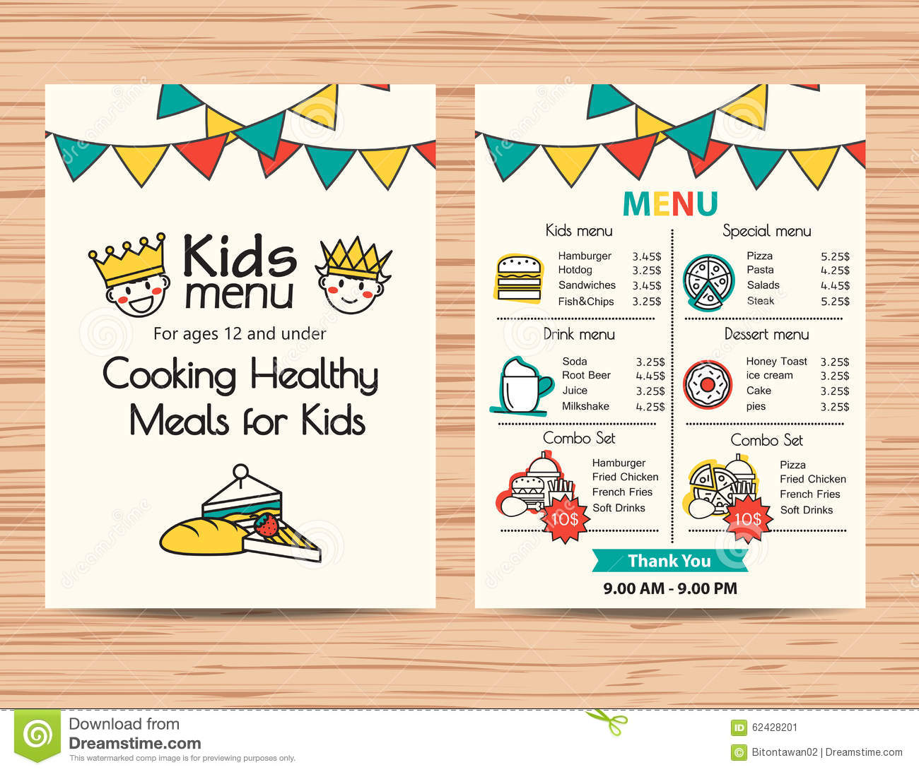 Kids Meal Menu Vector Template ,Restaurant Menu Design  Kids Menu Templates